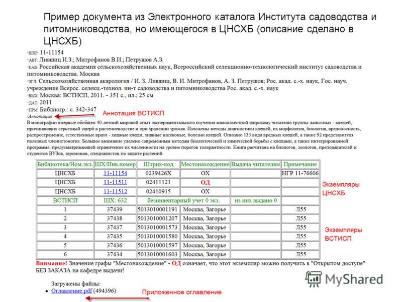 Пример документа из Электронного каталога Института садоводства и питомниководства, но имеющегося в ЦНСХБ (описание сделано в ЦНСХБ)