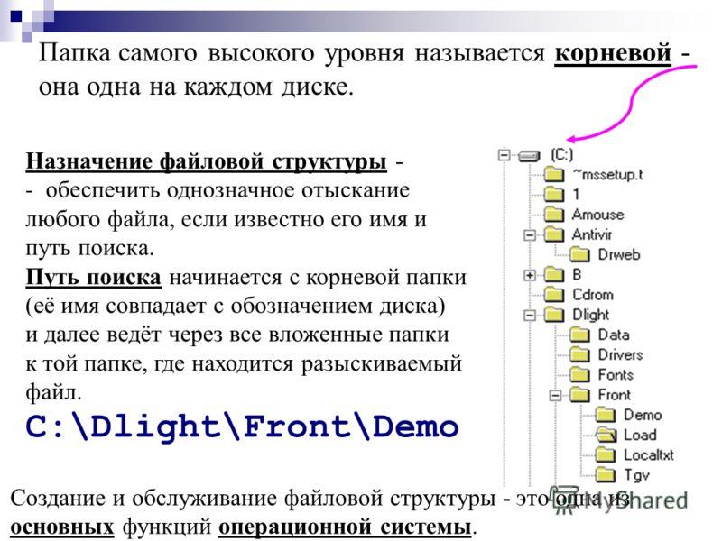Папка самого высокого уровня называется корневой - она одна на каждом диске. Назначение файловой структуры - - обеспечить однозначное отыскание любого файла, если известно его имя и путь поиска. Путь поиска начинается с корневой папки (её имя совпада