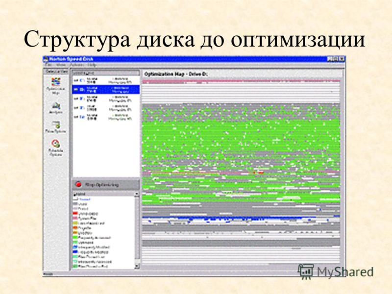 Структура диска до оптимизации