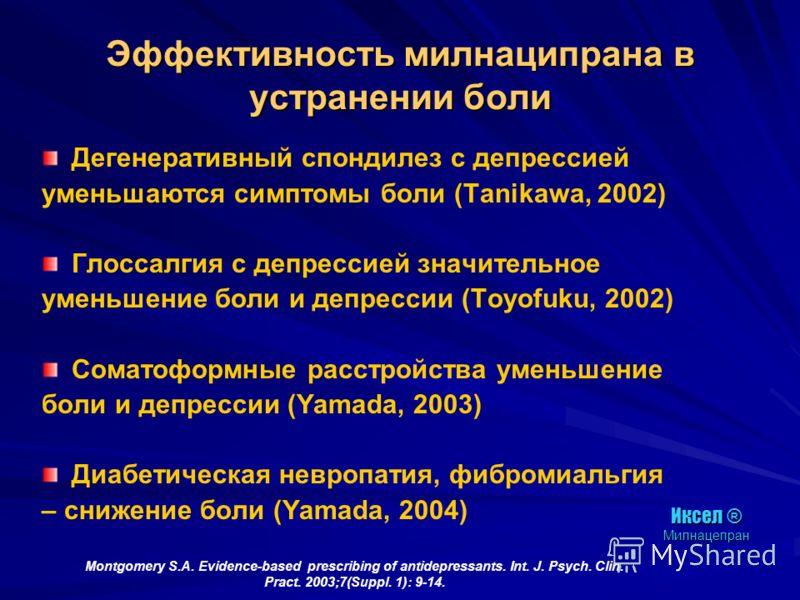 Montgomery S.A. Evidence-based prescribing of antidepressants. Int. J. Psych. Clin. Pract. 2003;7(Suppl. 1): 9-14. Эффективность милнаципрана в устранении боли Дегенеративный спондилез с депрессией уменьшаются симптомы боли (Tanikawa, 2002) Глоссалги