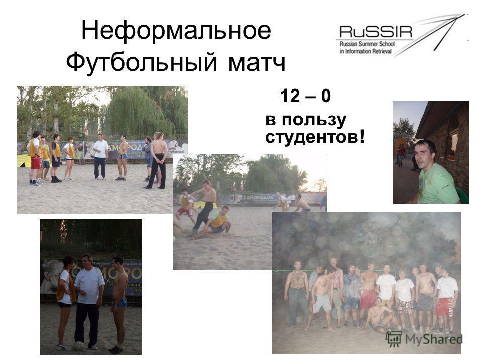 Неформальное Футбольный матч 12 – 0 в пользу студентов!