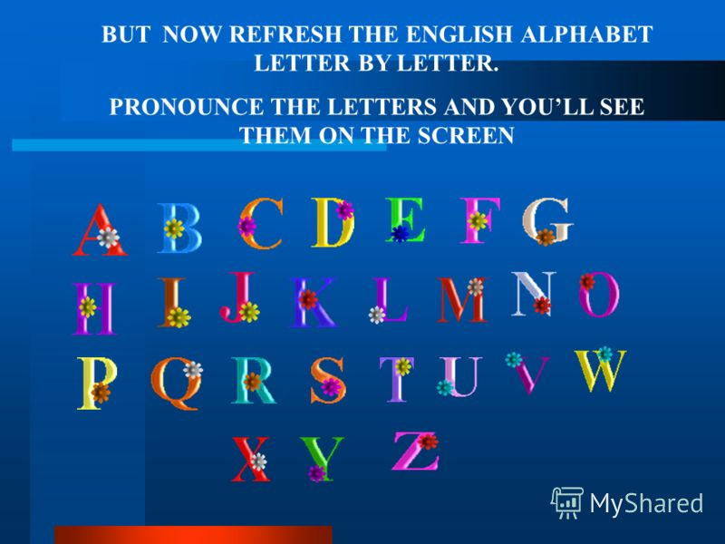 BUT NOW REFRESH THE ENGLISH ALPHABET LETTER BY LETTER. PRONOUNCE THE LETTERS AND YOULL SEE THEM ON THE SCREEN