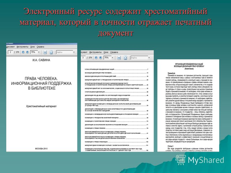 Электронный ресурс содержит хрестоматийный материал, который в точности отражает печатный документ