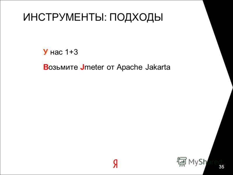 35 ИНСТРУМЕНТЫ: ПОДХОДЫ У нас 1+3 Возьмите Jmeter от Apache Jakarta