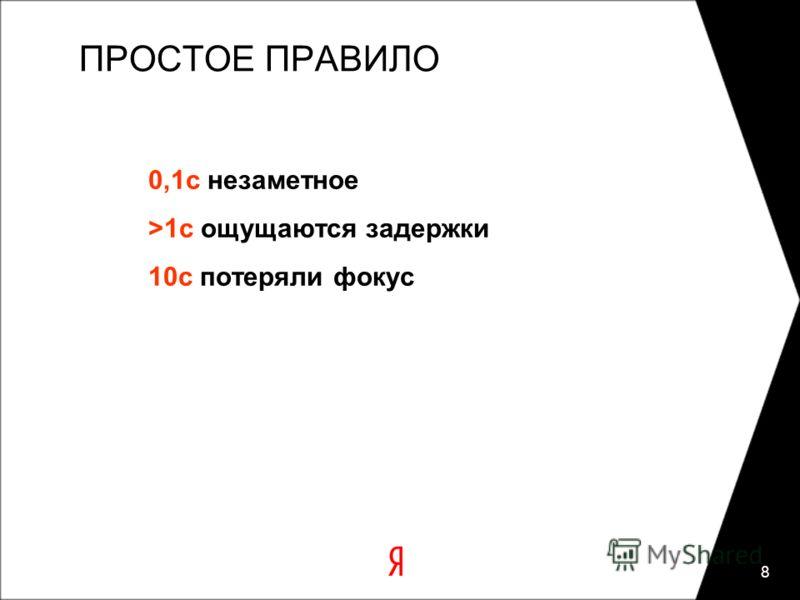 8 ПРОСТОЕ ПРАВИЛО 0,1с незаметное >1с ощущаются задержки 10с потеряли фокус