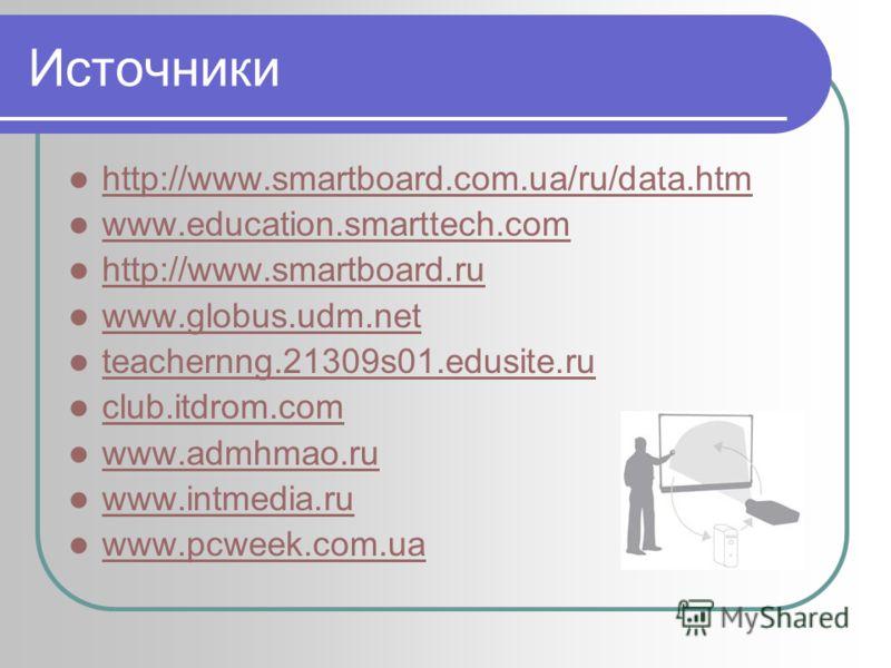 Источники http://www.smartboard.com.ua/ru/data.htm www.education.smarttech.com http://www.smartboard.ru www.globus.udm.net teachernng.21309s01.edusite.ru club.itdrom.com www.admhmao.ru www.intmedia.ru www.pcweek.com.ua