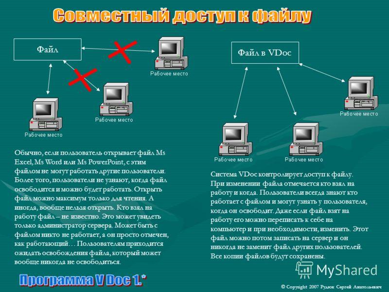 © Copyright 2007 Рудюк Сергей Анатольевич Файл Файл в VDoc Обычно, если пользователь открывает файл Ms Excel, Ms Word или Ms PowerPoint, с этим файлом не могут работать другие пользователи. Более того, пользователи не узнают, когда файл освободится и