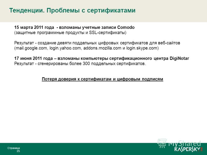 Тенденции. Проблемы с сертификатами Страница 25 15 марта 2011 года - взломаны учетные записи Comodo (защитные программные продукты и SSL-сертификаты) Результат - создание девяти поддельных цифровых сертификатов для веб-сайтов (mail.google.com, login.