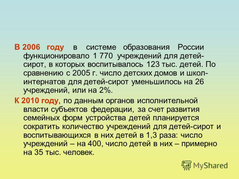 В 2006 году в системе образования России функционировало 1 770 учреждений для детей- сирот, в которых воспитывалось 123 тыс. детей. По сравнению с 2005 г. число детских домов и школ- интернатов для детей-сирот уменьшилось на 26 учреждений, или на 2%.