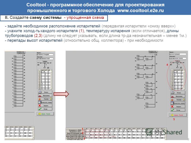 Cooltool - программное обеспечение для проектирования промышленного и торгового Холода www.cooltool.e2e.ru II. Создайте схему системы - упрощенная схема - задайте необходимое расположение испарителей (передвигая испарители «снизу вверх») - укажите хо