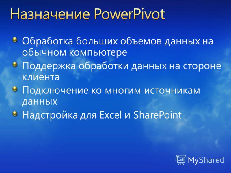 Обработка больших объемов данных на обычном компьютере Поддержка обработки данных на стороне клиента Подключение ко многим источникам данных Надстройка для Excel и SharePoint