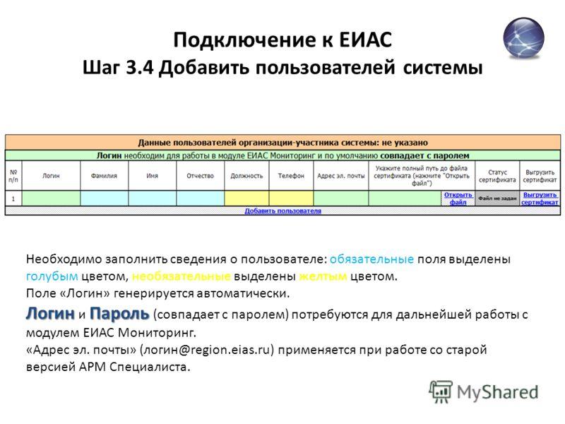 Подключение к ЕИАС Шаг 3.4 Добавить пользователей системы Необходимо заполнить сведения о пользователе: обязательные поля выделены голубым цветом, необязательные выделены желтым цветом. Поле «Логин» генерируется автоматически. ЛогинПароль Логин и Пар