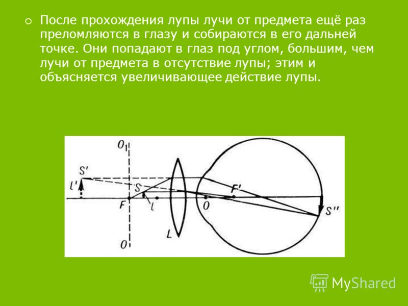 После прохождения лупы лучи от предмета ещё раз преломляются в глазу и собираются в его дальней точке. Они попадают в глаз под углом, большим, чем лучи от предмета в отсутствие лупы; этим и объясняется увеличивающее действие лупы.