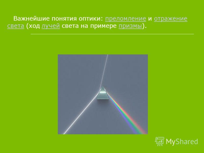 Важнейшие понятия оптики: преломление и отражение света (ход лучей света на примере призмы).преломлениеотражение светалучейпризмы