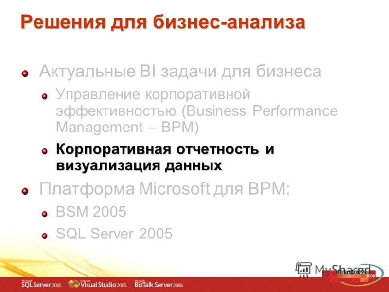 Решения для бизнес-анализа Актуальные BI задачи для бизнеса Управление корпоративной эффективностью (Business Performance Management – BPM) Корпоративная отчетность и визуализация данных Платформа Microsoft для BPM: BSM 2005 SQL Server 2005