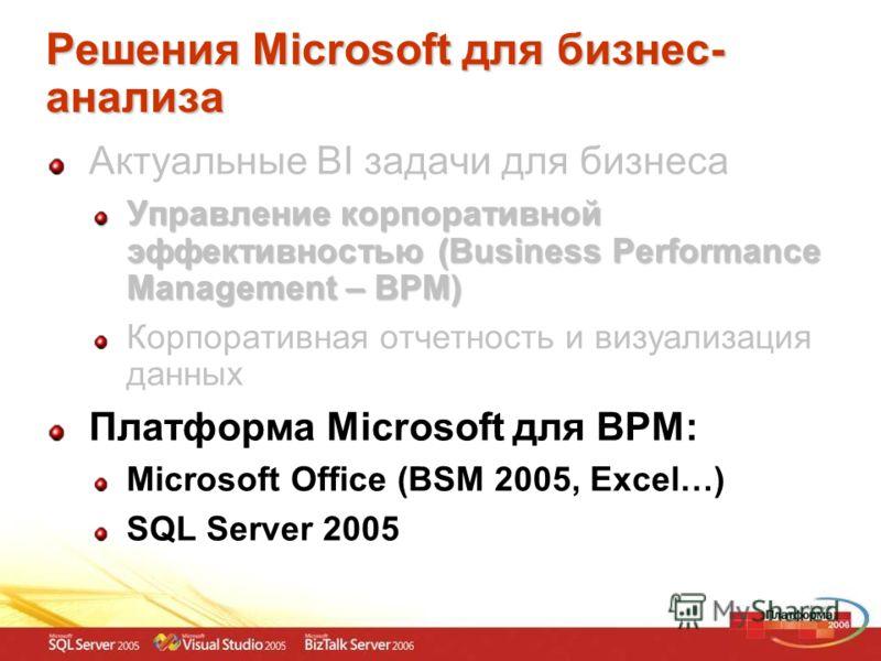 Решения Microsoft для бизнес- анализа Актуальные BI задачи для бизнеса Управление корпоративной эффективностью (Business Performance Management – BPM) Корпоративная отчетность и визуализация данных Платформа Microsoft для BPM: Microsoft Office (BSM 2