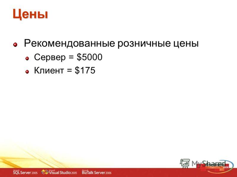 Цены Рекомендованные розничные цены Сервер = $5000 Клиент = $175