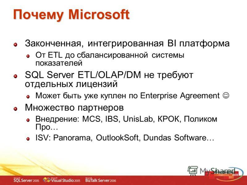 Почему Microsoft Законченная, интегрированная BI платформа От ETL до сбалансированной системы показателей SQL Server ETL/OLAP/DM не требуют отдельных лицензий Может быть уже куплен по Enterprise Agreement Множество партнеров Внедрение: MCS, IBS, Unis
