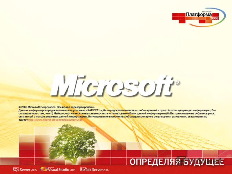 © 2005 Microsoft Corporation. Все права зарезервированы. Данная информация предоставляется на условиях «КАК ЕСТЬ», без предоставления каких-либо гарантий и прав. Используя данную информацию, Вы соглашаетесь с тем, что (i) Майкрософт не несет ответств
