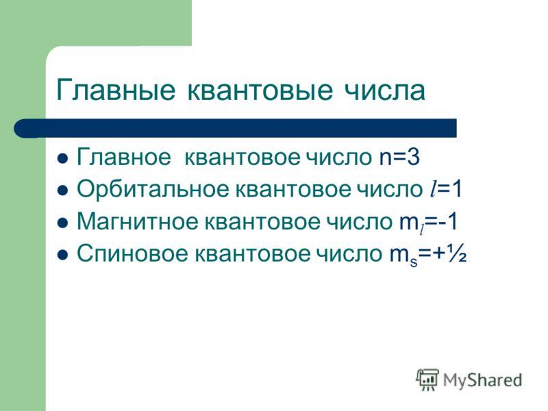 Главные квантовые числа Главное квантовое число n=3 Орбитальное квантовое число l =1 Магнитное квантовое число m l =-1 Спиновое квантовое число m s =+½