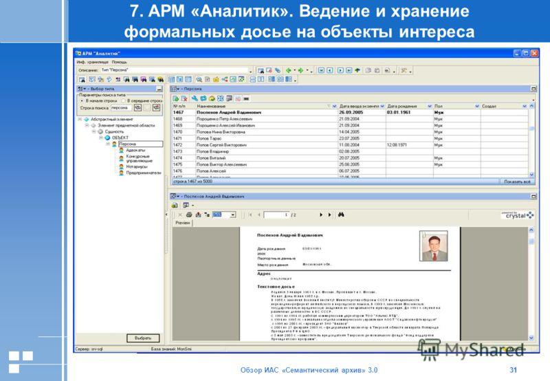 Обзор ИАС «Семантический архив» 3.031 7. АРМ «Аналитик». Ведение и хранение формальных досье на объекты интереса 31