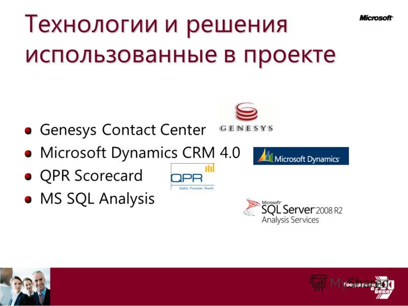 Технологии и решения использованные в проекте Genesys Contact Center Microsoft Dynamics CRM 4.0 QPR Scorecard MS SQL Analysis 29