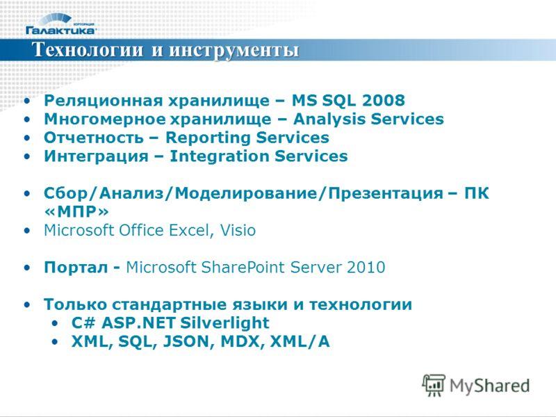 Технологии и инструменты Реляционная хранилище – MS SQL 2008 Многомерное хранилище – Analysis Services Отчетность – Reporting Services Интеграция – Integration Services Сбор/Анализ/Моделирование/Презентация – ПК «МПР» Microsoft Office Excel, Visio По