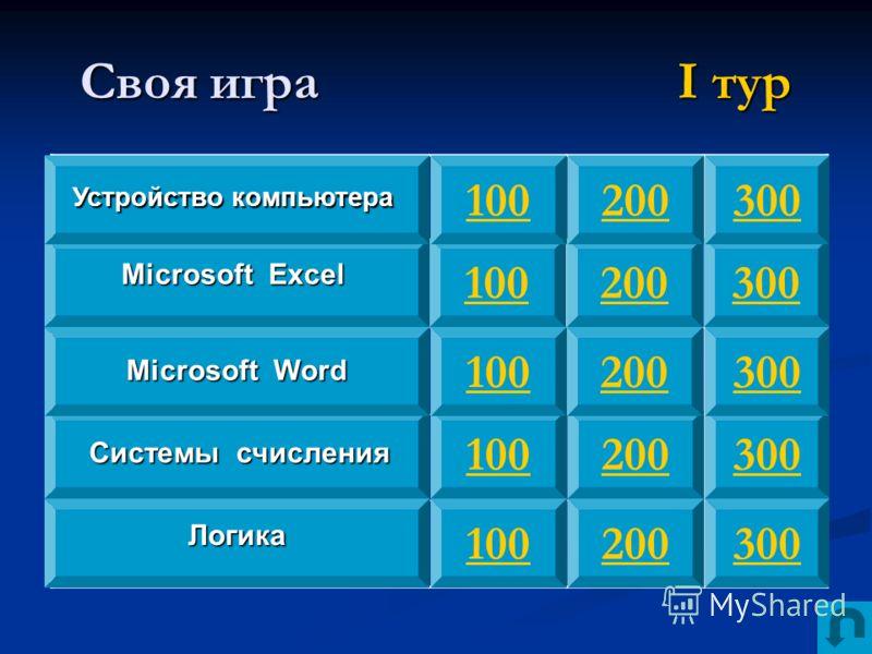 Своя игра I тур 100 300 200 Устройство компьютера Microsoft Excel Системы счисления Логика Microsoft Word