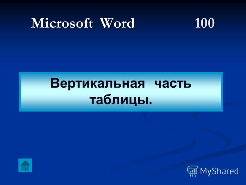 Microsoft Word 100 Вертикальная часть таблицы.