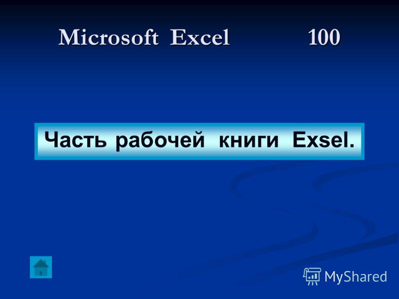 Microsoft Excel 100 Часть рабочей книги Exsel.