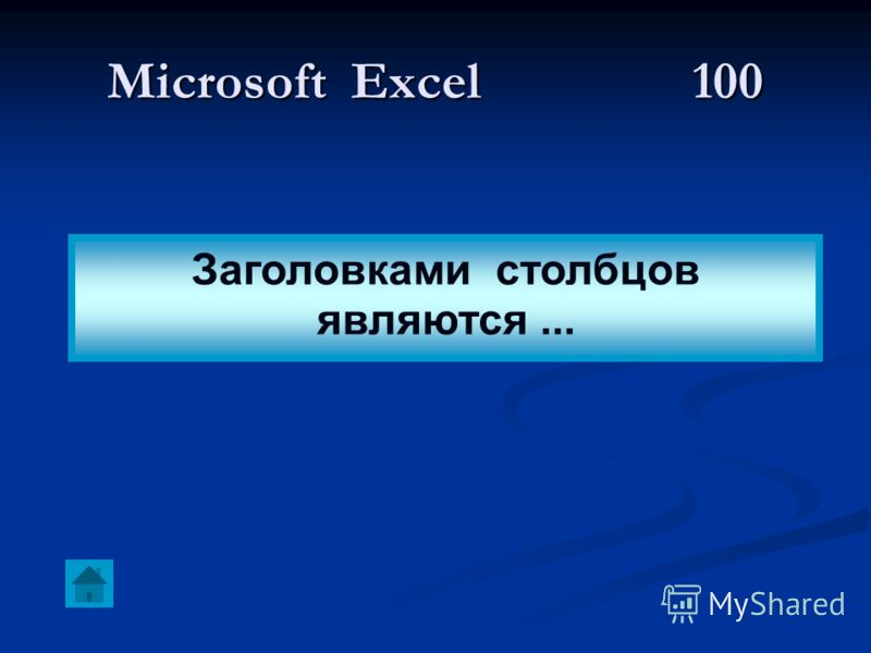 Microsoft Excel 100 Заголовками столбцов являются...