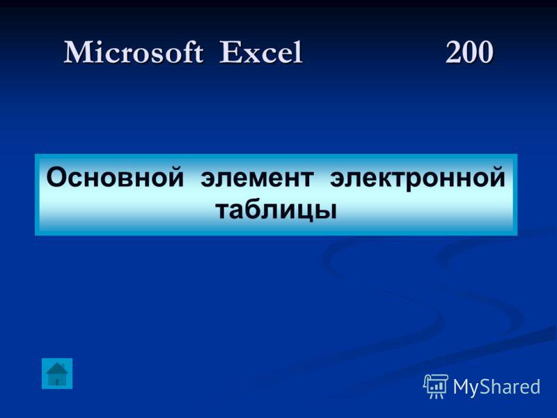 Microsoft Excel 200 Основной элемент электронной таблицы