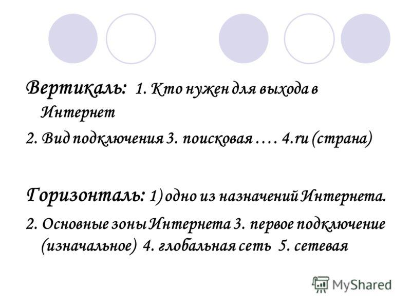 Вертикаль: 1. Кто нужен для выхода в Интернет 2. Вид подключения 3. поисковая …. 4.ru (страна) Горизонталь: 1) одно из назначений Интернета. 2. Основные зоны Интернета 3. первое подключение (изначальное) 4. глобальная сеть 5. сетевая