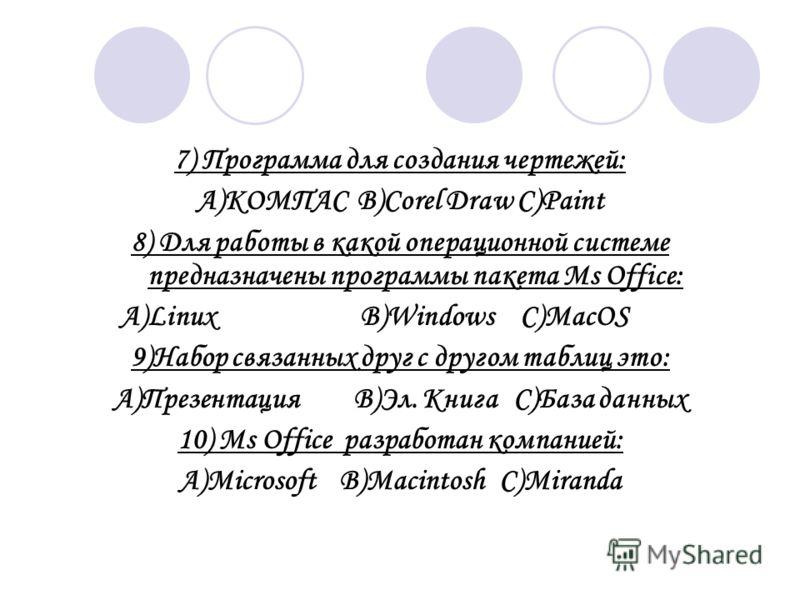 7) Программа для создания чертежей: A)KOМПАСB)Corel DrawC)Paint 8) Для работы в какой операционной системе предназначены программы пакета Ms Office: A)LinuxB)WindowsC)MacOS 9)Набор связанных друг с другом таблиц это: А)ПрезентацияВ)Эл. КнигаС)База да
