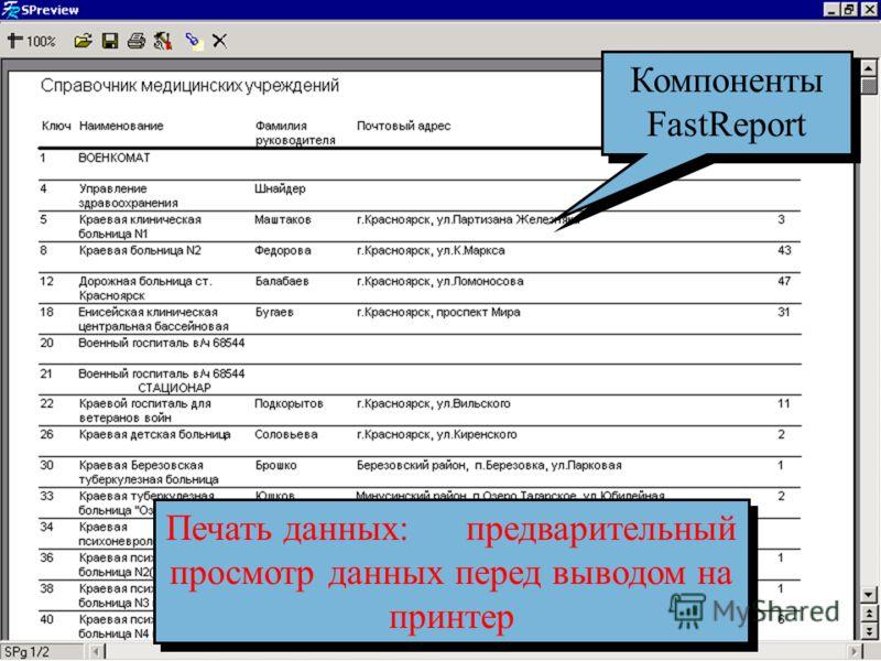 Предварительный просмотр Печать данных: предварительный просмотр данных перед выводом на принтер Компоненты FastReport