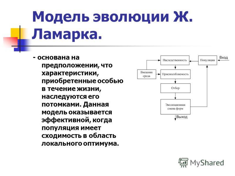 Модель эволюции Ж. Ламарка. - основана на предположении, что характеристики, приобретенные особью в течение жизни, наследуются его потомками. Данная модель оказывается эффективной, когда популяция имеет сходимость в область локального оптимума.