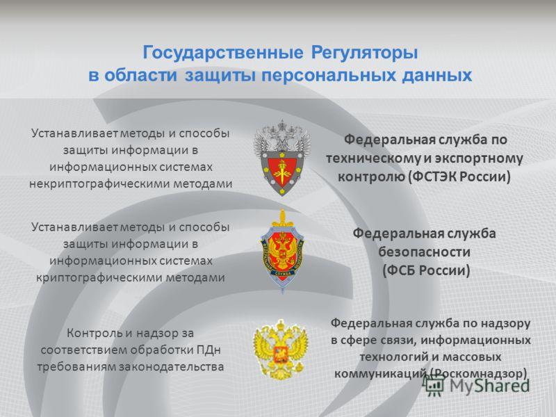 Государственные Регуляторы в области защиты персональных данных Федеральная служба безопасности (ФСБ России) Федеральная служба по техническому и экспортному контролю (ФСТЭК России) Устанавливает методы и способы защиты информации в информационных си