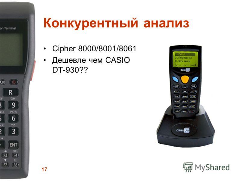 17 Конкурентный анализ Сipher 8000/8001/8061 Дешевле чем CASIO DT-930??