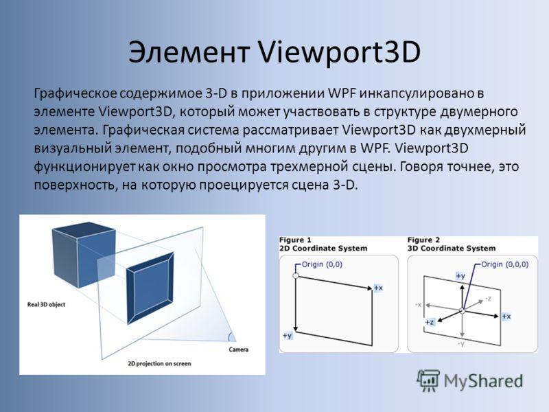 Элемент Viewport3D Графическое содержимое 3-D в приложении WPF инкапсулировано в элементе Viewport3D, который может участвовать в структуре двумерного элемента. Графическая система рассматривает Viewport3D как двухмерный визуальный элемент, подобный