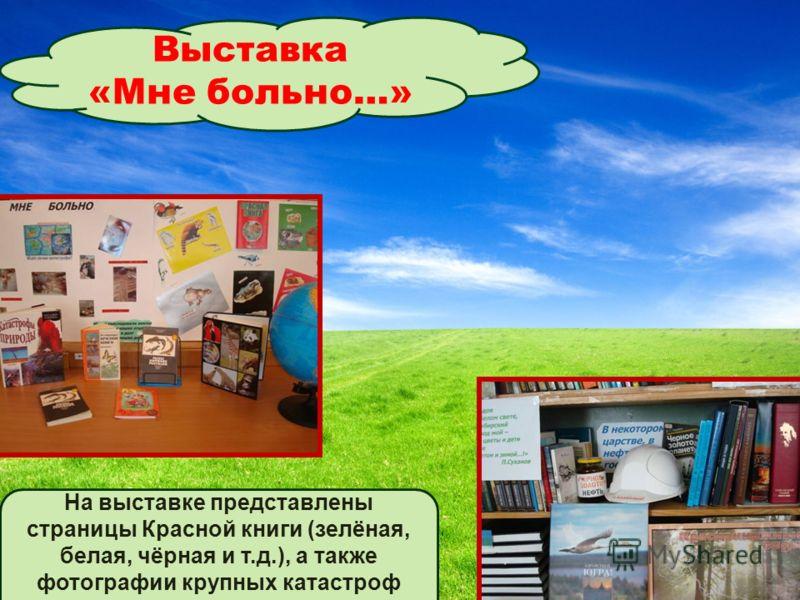Выставка «Мне больно…» На выставке представлены страницы Красной книги (зелёная, белая, чёрная и т.д.), а также фотографии крупных катастроф Земли.
