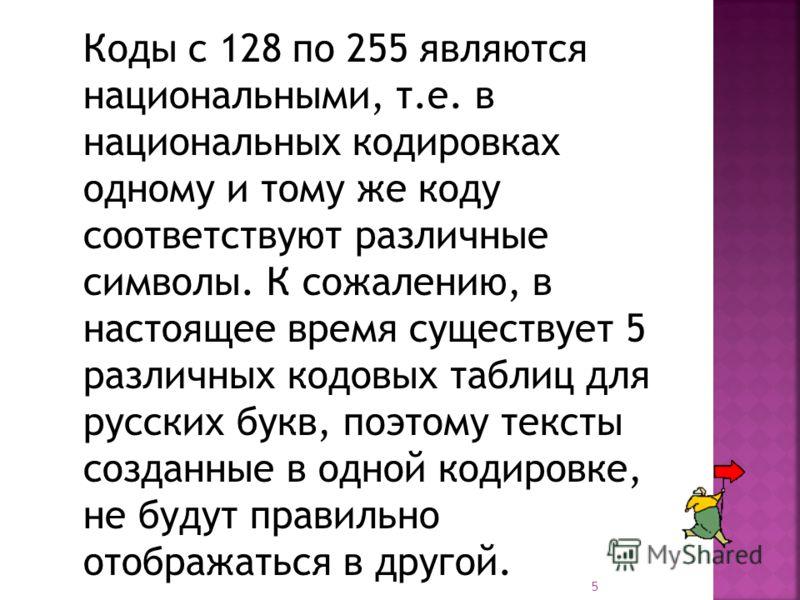 5 Коды с 128 по 255 являются национальными, т.е. в национальных кодировках одному и тому же коду соответствуют различные символы. К сожалению, в настоящее время существует 5 различных кодовых таблиц для русских букв, поэтому тексты созданные в одной
