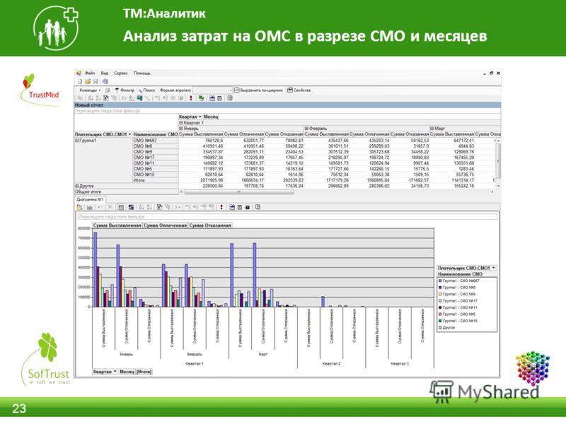 23 Анализ затрат на ОМС в разрезе СМО и месяцев ТМ:Аналитик
