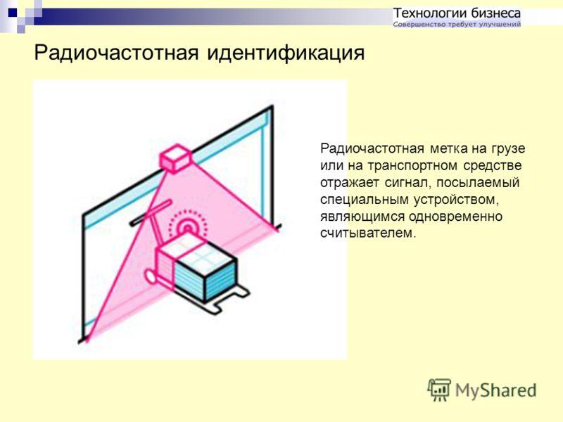 Радиочастотная идентификация Радиочастотная метка на грузе или на транспортном средстве отражает сигнал, посылаемый специальным устройством, являющимся одновременно считывателем.