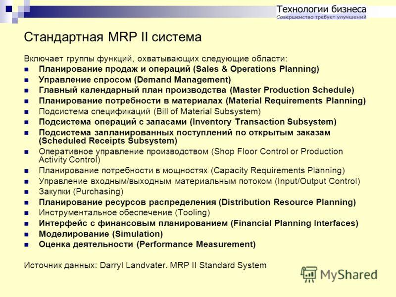 Стандартная MRP II система Включает группы функций, охватывающих следующие области: Планирование продаж и операций (Sales & Operations Planning) Управление спросом (Demand Management) Главный календарный план производства (Master Production Schedule)