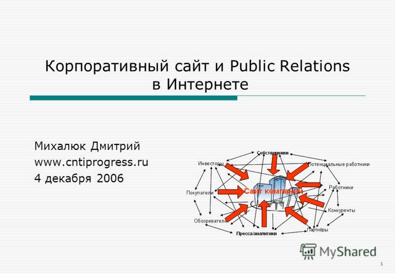 1 Корпоративный сайт и Public Relations в Интернете Михалюк Дмитрий www.cntiprogress.ru 4 декабря 2006