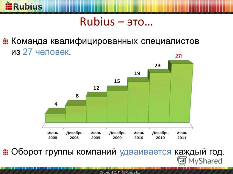 Команда квалифицированных специалистов из 27 человек. Оборот группы компаний удваивается каждый год. Rubius – это…