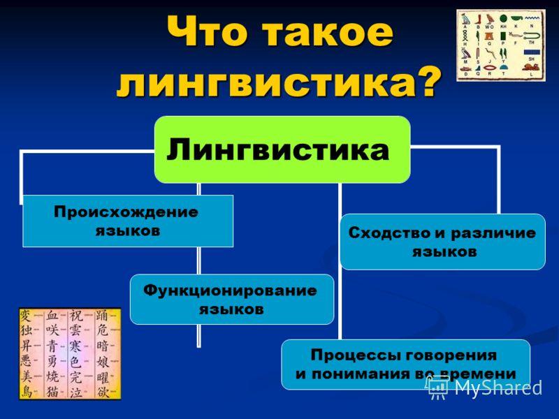Что такое лингвистика? Лингвистика Происхождение языков Функционирование языков Процессы говорения и понимания во времени Сходство и различие языков