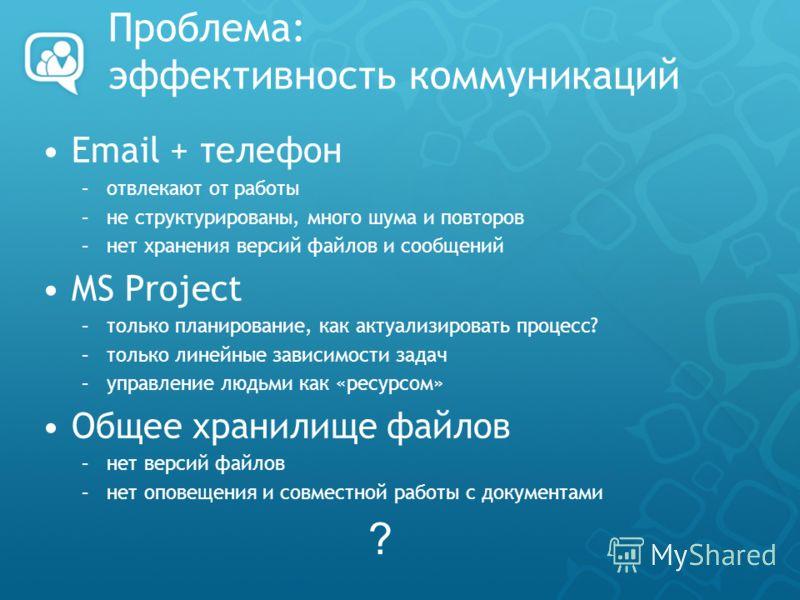 Проблема: эффективность коммуникаций Email + телефон –отвлекают от работы –не структурированы, много шума и повторов –нет хранения версий файлов и сообщений MS Project –только планирование, как актуализировать процесс? –только линейные зависимости за