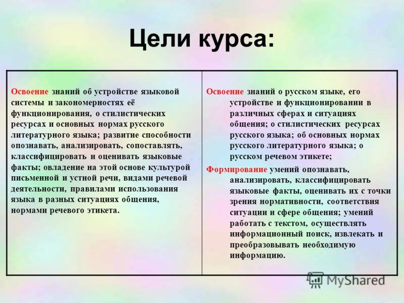 Цели курса: Освоение знаний об устройстве языковой системы и закономерностях её функционирования, о стилистических ресурсах и основных нормах русского литературного языка; развитие способности опознавать, анализировать, сопоставлять, классифицировать