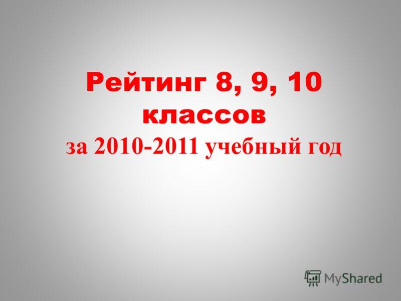 Рейтинг 8, 9, 10 классов за 2010-2011 учебный год